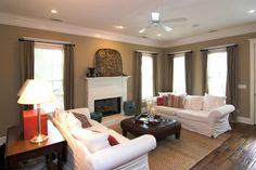 living-room-interior-glamorous-decorating-living-rooms-ideas-showing-tan-wall-paint-scheme-together-with-tan-fabric-goblet-pleat-curtain-on-louvered-windows ...