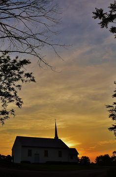 Sunset Behind A Country Church