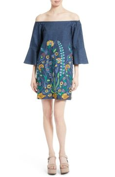 Alice And Olivia 'kyra' Floral Embroidered Off-shoulder Chambray Dress In Chambray Multi Off Shoulder Fashion, Off Shoulder Blouse, Shoulder Dress, Chambray Dress, Embroidered Tunic, Nordstrom Dresses, Bell Sleeves, Winter Fashion, How To Wear