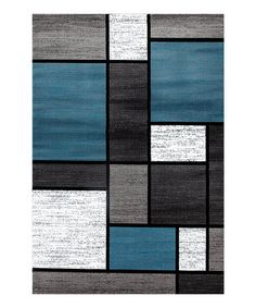 This Blue & Black Boxes Rug is perfect! #zulilyfinds