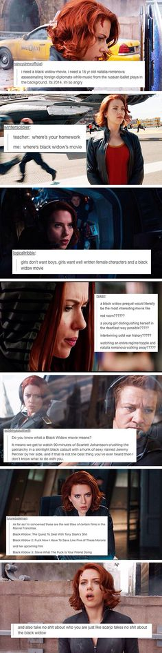 "I want a Black Widow backstory movie. And I want a Black Widow and Hawkeye movie called ""Budapest"". Marvel - you need to make these happen! Language again sorry Marvel Dc, Captain Marvel, Marvel Comics, Captain America, Dc Memes, Marvel Memes, Marvel Tumblr, Hawkeye, Marvel Universe"