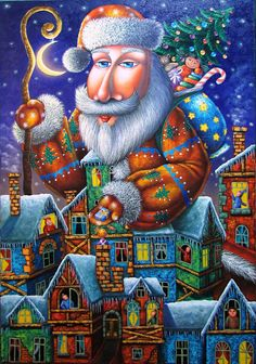 """Santa Claus"" by Zurab Martiashvili Georgia, 2 Peter, Theme Noel, Illustrations, David, Christmas Pictures, Kids Gifts, Christmas And New Year, Saints"