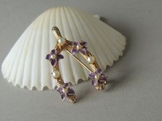 Wishbone Pin, Gold Tone, Wishbone Brooch, Vintage Pin, Seed Pearls, 1960s, Purple Flowers, Art Deco Jewelry, Retro    This belonged to my