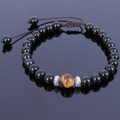 Men's Adjustable Braided Bracelet Black Obsidian Tiger Eye Tibetan Silver 115M #Handmade #MensGemstoneTibetanSilverBraidedBracelet