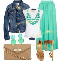 A Touch of Aquamarine Mint Dress, Got The Look, Light Denim, Shoe Bag, My Style, Polyvore, Stuff To Buy, How To Wear, Jackets