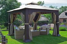 A garden isn't complete without a place for relaxation and gazebo is the perfect spot for relaxation! Find out what you need to know when searching for the perfect gazebo for your garden! Outside Gazebo, Hot Tub Gazebo, Backyard Gazebo, Garden Gazebo, Backyard Retreat, Outdoor Gazebos, Outdoor Structures, Outdoor Decor, Pergola Shade