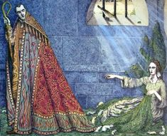 Elisa pointed to the door, by Angela Barrett (from The Wild Swans)