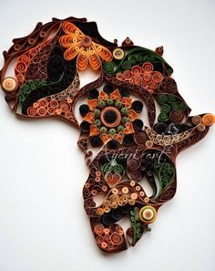 Paper quilled Africa.