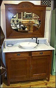 Images Of Photo of Front View Antique Bathroom Vanity Marble Top Antique Dresser with Mirror and
