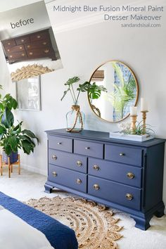 Midnight Blue Fusion Mineral Paint Dresser Makeover Sand and Sisal Midnight Blue Fusion Mineral Paint Dresser Makeover Sand and Sisal Ugly Duckling House DIY Home Woodworking Crafts 038 nbsp hellip Painted Bedroom Furniture, Bedroom Dressers, Wooden Furniture, Dresser Furniture, Refurbished Furniture, Bedroom Decor, Bedroom Ideas Paint, Diy Blue Furniture, Diy Furniture Painting