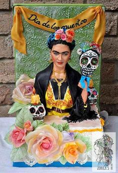Frida Kahlo Cake For Dia De La Muertos Sugar Skull Bakers Collaboration 2014 She Is Sculpted Fondant 13 Scale Frida Kahlo cake for Dia de. Fancy Cakes, Cute Cakes, Beautiful Cakes, Amazing Cakes, Sugar Skull Cakes, Sugar Skulls, Fondant, Mexico Fashion, Food Artists