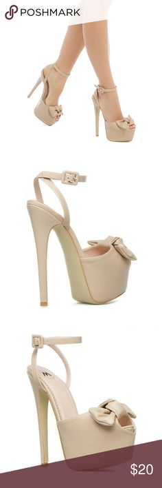 JUST IN -NWOB Madison by Shoedazzle platform heels Madison by Shoedazzle platform heels sz 8 Nude with bows. See all photos. There is writing on the bottom. Will likely come off with oops. Shoe Dazzle Shoes Platforms