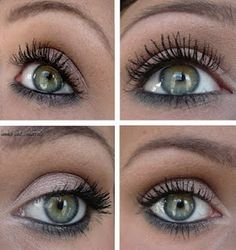 Nice gray eye make-up for green eyes. My eyes are greenish blue and gray doesn't usually look right on me but I want to try this. Prom Makeup, Wedding Makeup, Hair Makeup, Nude Makeup, Soft Makeup, Grey Eyeshadow, Eyeshadow Looks, Eyeshadow Makeup, Makeup Dupes