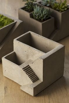 Cement Architectural Pot with Two Planters by Vagabond Vintage®