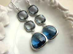 Sapphire Navy Earrings Charcoal Gray Earrings Silver - Bridesmaid Earrings - Wedding Earrings - Valentines Day Gift on Etsy, $42.00