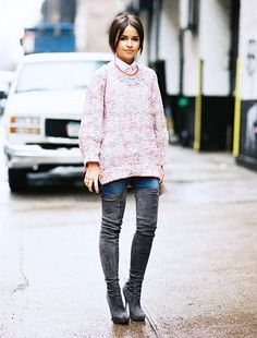 Over The Knee Boots Work with Skinny Jeans by Miroslava Duma take 2