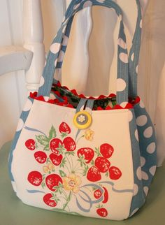 Vintage Tablecloth Strawberries Tote Bag Purse