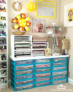 How to Decorate Plastic Storage Drawers #organization #craftroom #spraypaint #nationalcraftmonth #nationalcraftmonth2018
