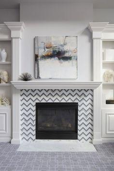 I love the chevron fireplace! Martha O'Hara Interiors - living rooms - Benjamin Moore - Grey Tint - gray walls, gray wall color, fireplace, fireplace built-ins, fireplace. Fireplace Tile Surround, Brick Fireplace, Fireplace Surrounds, Fireplace Design, Fireplace Ideas, Mantel Surround, Fireplace Redo, Fire Surround, Farmhouse Fireplace