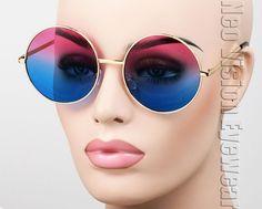 Oversized Round John Lennon Vintage Style Sunglasses Oceanic Gold Rose Blue 033 #KissStars
