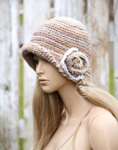 5cec647596c Winter Crochet hat Womens cloche Flower hat Fashion crochet hat Beige  cloche Winter womens hat Winter