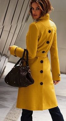 2013 New Womens Long Coat Wool Cahmere Blend Trench Coat Outwear Long Jacket 01 Mode Mantel, Yellow Coat, Yellow Black, Cooler Look, Winter Mode, Mode Inspiration, Wool Coat, Wool Overcoat, Look Fashion