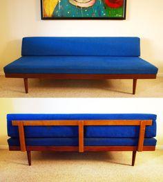 Mid Century Danish Modern Blue Sofa by junk2funkbiz on Etsy, $600.00