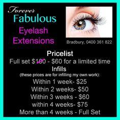 Eyelash Extensions Price List