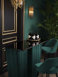 Casa Art Deco, Art Deco Home, Art Deco Bar, Art Deco Living Room, Living Room Designs, Home Design, Design Ideas, Interior Design Masters, Green Rooms