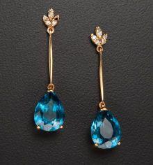 Estate Jewelry:Earrings, Blue Topaz & Diamond Gold Earrings. ... (Total: 1 Items)
