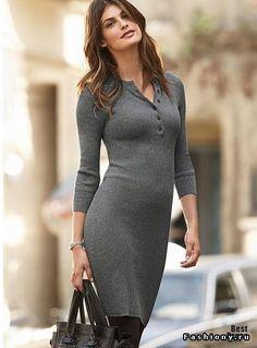 Стильные и модные платья из шерсти и трикотажа / платье с сапогами