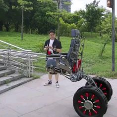 The potential benefit of stair climbing for the millions of people who are wheelchair users is exciting. Order now at slay fitness Cool Gadgets To Buy, Gadgets And Gizmos, Tech Gadgets, New Technology Gadgets, Cool Technology, Inventions Sympas, Cool Inventions, Future Inventions, Future Tech