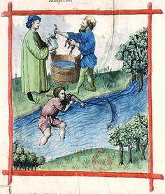 A Feast For The Eyes  15. Fishing for lamprey; Tacuinum Sanitatis, 15th c., Paris.
