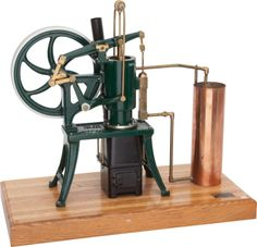 LIVE STEAM SCALE MODEL RIDER ERICSSON HOT-AIR ENGINE  18 x 23 x 11-1/2 inches (45.7 x 58.4 x 29.2 cm)  Well engineered vintage 1.4 scale model of the single cylinder vertical pumping engine developed in the mid-19th century,