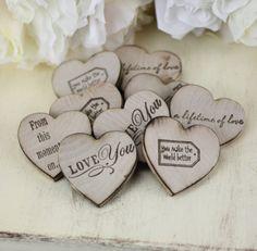 wedding favors: rustic wood heart magnets