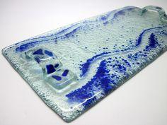 Bandeja de Vidro   incolor / azul  18 x 33 cm  Decoraçao e Presentes R$45,00