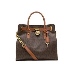 Michael Kors Hamilton Large Logo Tote, Brown (1,305 SAR) ❤ liked on Polyvore featuring bags, handbags, tote bags, brown, brown leather handbags, brown leather purse, brown leather tote bag, michael kors handbags and brown tote