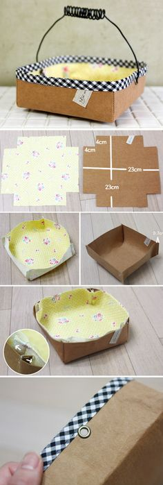 How to sew Basket of kraft paper and fabric. DIY Pattern & Tutorial in Pictures.  http://www.handmadiya.com/2015/11/fabric-basket-tutorial.html