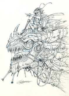 SteamPunk fairy riding a dragon by Capia Deviantart