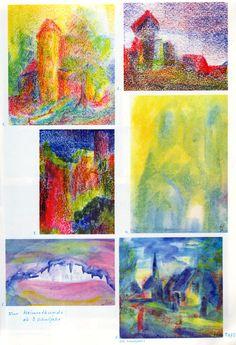Taf. 26: Heimatkunde und Ortschaftsbilder (3. und 12. S.j.) Das Bild rechts unten ist aus dem 12. S.j. Es ist kaum ein Fortschritt zw.dem 3. und dem 12. S.j. zu erkennen. 1. Bauwerk mit Turm in Gelb-Rot-Bl. mit Baum in Gelb-Rot-Grün mit Boden in Grün-Bl.-Rot und Hintergr. in Grün und Gelb 2. Häusergr. in Braun mit rot. Dächern mit grün-gelb-rot-braun. Boden und mit Him. in Rot-Bl. 3. Häusergr. in Rot mit Boden in Grün-Gelb und Him. in Dunkelbl. (...) Crayon Drawings, Art Drawings, Wax Crayons, Drawing For Kids, Color Theory, Painting & Drawing, Watercolor, Crayon Ideas, Artist
