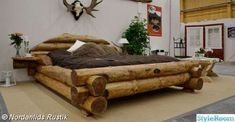 This rustic style bed is a beautiful piece of log furniture. Hand-crafted, it is really a very unique piece. #Logfurniture