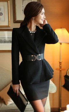 I think the jacket/belt has a nice, almost elegant look to it. The skirt is a little short for my taste.