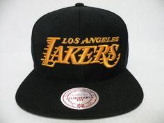b785de10f0ebf2 Mitchell and Ness NBA Los Angeles Lakers Script Logo Black Retro Snapback  Cap