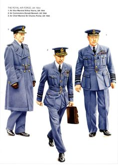 RAF - UK 1944 - 1) Air Vice Marschal Arthur Harris, 1944 - 2)  Air Commodor Donald Bennet, 1944 - 3) Air Chief Marshal Sir Charles Portal, 1944