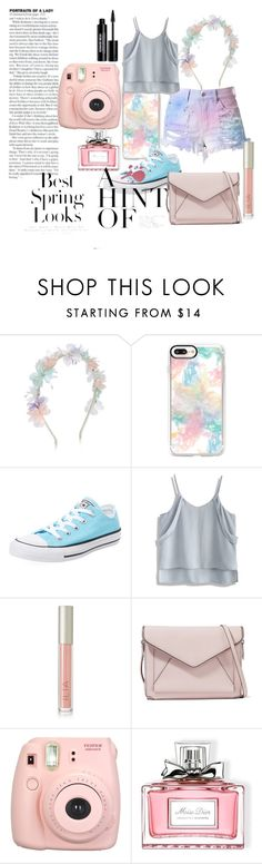 """""""Pastel For Spring"""" by cupcakelover635 on Polyvore featuring Monsoon, Casetify, Converse, Chicwish, Ilia, Rebecca Minkoff, Fujifilm, Christian Dior, Edward Bess and H&M"""