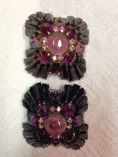 SCHREINER VARIATION ON THE RUFFLE BROOCH IN PURPLE & PINK, YES, THERE ARE 2 OF THESE!