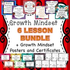 This bundle contains 6 growth mindset lessons, a set of 15 growth mindset certificates (+1 blank), and a set of 7 growth mindset posters offered both in black and white and color. The lessons included in this bundle are;  1. A lesson about making mistakes using the book    The Girl Who Made Mistakes, by Mark Pett and Gary Rubenstein.2.