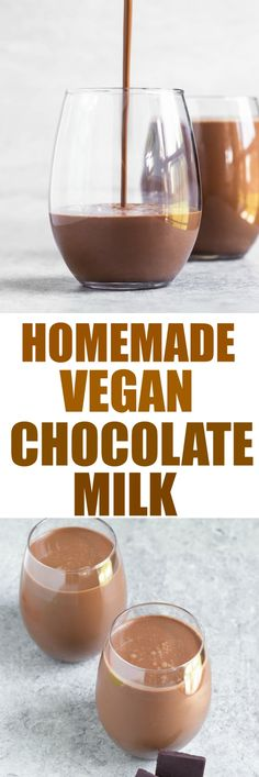 Homemade Vegan Chocolate Milk that tastes every bit as rich and delicious as the indulgent dairy version! Made with just 6 ingredients, this dairy-free milk is easy and downright delicious! via @thevegan8