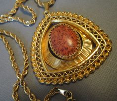 Vintage Necklace Pendant with Coral Orange by EyeCandyAntiques, $49.00