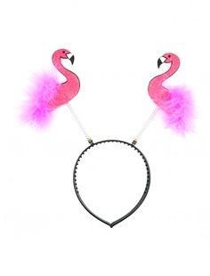 Haarreif mit Glitzer Flamingos Haarreifen Karneval Fasching Motto Hawaii Party